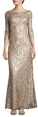 Tadashi Shoji Three-Fourth-Sleeve Sequin Embellished Gown $519 thestylecure.com
