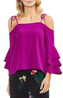 Vince Camuto Tropic Heat Cold-Shoulder Bell-Sleeve Blouse