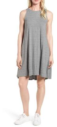 Caslon Stripe Cotton Blend Trapeze Dress