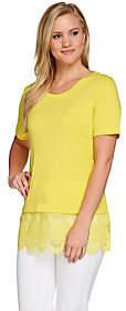 C. Wonder Scoop Neck Slub Knit Top w/ Lace Hem& Side Slits