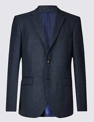 M&S Collection Big & Tall Navy Checked Regular Fit Jacket