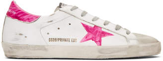 Golden Goose SSENSE Exclusive White and Pink Wednesday Superstar Sneakers