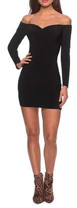 La Femme Off the Shoulder Long Sleeve Dress With Lace Up Back