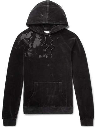 Saint Laurent Distressed Cotton-Blend Velvet Hoodie - Men - Black