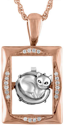 FINE JEWELRY Love in Motion Diamond Accent 18K Rose Gold Over Silver Cat Pendant Necklace