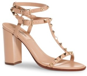 Women's Valentino Rockstud Ankle Strap Sandal $945 thestylecure.com