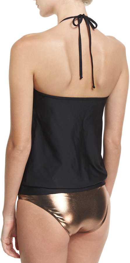 Luxe by Lisa Vogel Chain Reaction High-Neck Tankini Swim Top, Black 3