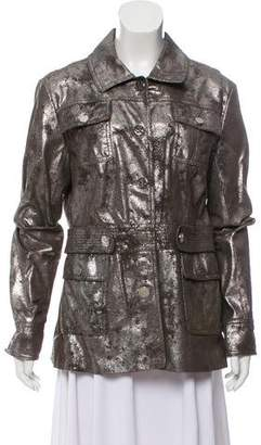 Tory Burch Metallic Leather Coat