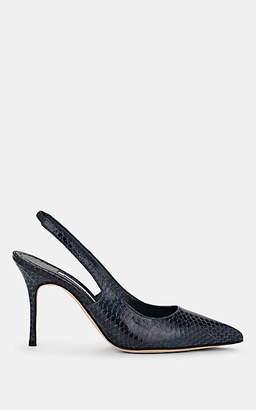 Manolo Blahnik Women's Allura Snakeskin-Stamped Leather Slingback Pumps - Navy Snake