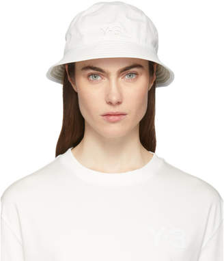Y-3 Y 3 Reversible White and Khaki Logo Bucket Hat
