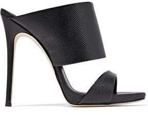 Giuseppe Zanotti Glossed Snake-Effect Leather Mules