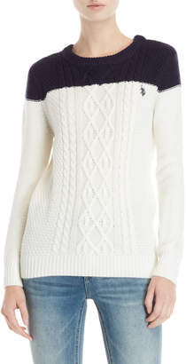 U.S. Polo Assn. Color Block Cable Sweater