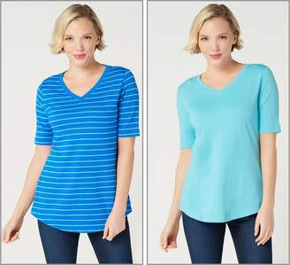 Isaac Mizrahi Live! Set of 2 Essentials Pima Cotton Solid & Striped Tops