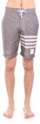 Thom Browne Striped-Leg Swim Trunks, Medium Gray $430 thestylecure.com