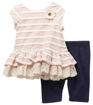 Pippa & Julie Lace Trimmed Striped Top & Capri Leggings Set (Baby Girls 0-9M)