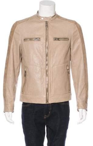 Salvatore Ferragamo Leather & Suede Café Racer Jacket