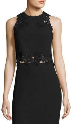 Rebecca Taylor Piqué Lace-Trim Crop Top, Black