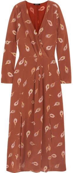 Madewell - Night Flower Printed Silk Crepe De Chine Maxi Dress - Brown
