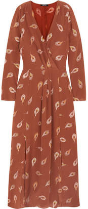 Madewell Night Flower Printed Silk Crepe De Chine Maxi Dress - Brown