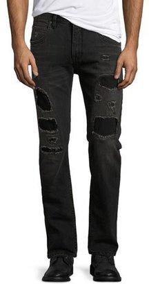 Helmut Lang Mr. 87 Slim-Fit Destroyed Jeans, Black $275 thestylecure.com