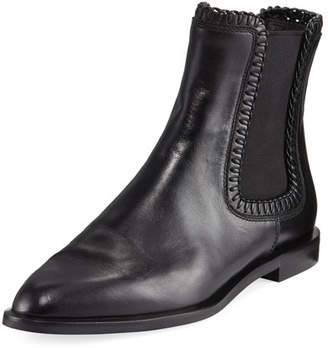 Tod's Whipstitched Flat Leather Chelsea Boot, Black