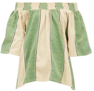 Ace&Jig Marisol Ruched Neck Cotton Top - Womens - Green