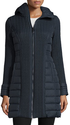 Post Card Mesa Cable-Quilted Puffer Coat, Navy $1,120 thestylecure.com