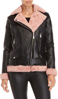 Joujou Jou Jou Faux Fur Belted Moto Jacket