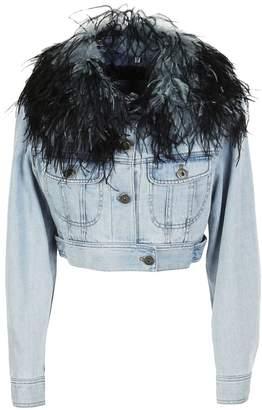 Prada Feathered Collar Denim Jacket