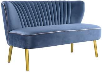 Darcy & Duke Romantic Florals Slipper Velvet 2 Seater Sofa, Gold Leg, Steel Blue 1