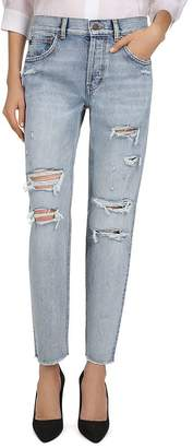 The Kooples Mid-Rise Cropped Tapered-Leg Jeans in Blue Washed