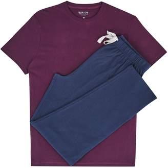 Burton Mens Burgundy and Blue Pyjama Set