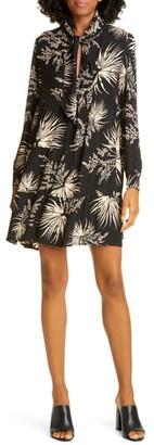BA&SH Eugenie Floral Tie Neck Long Sleeve Babydoll Dress
