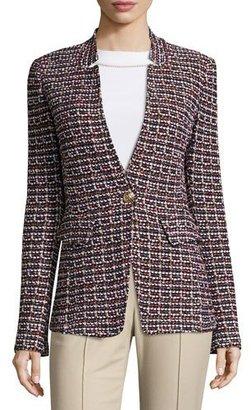 St. John Collection Curacao Tweed Notch-Collar Jacket, Caviar/Multi $1,695 thestylecure.com