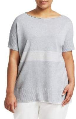Lafayette 148 New York Lafayette 148 New York, Plus Size Sequin Stripe Short-Sleeve Sweater