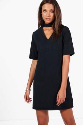 boohoo Tall Denim Choker Detail Dress