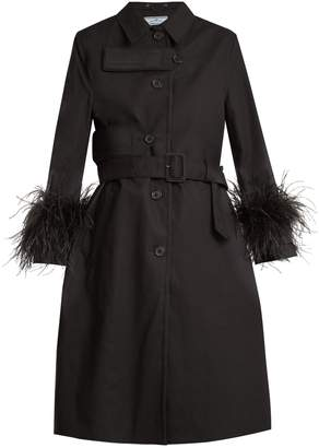 Feather-trimmed resin-coated cotton coat