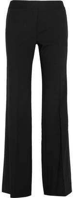 DKNY Satin-Trimmed Stretch-Wool Wide-Leg Pants