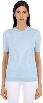 Courreges Logo Ribbed Cotton Knit Top