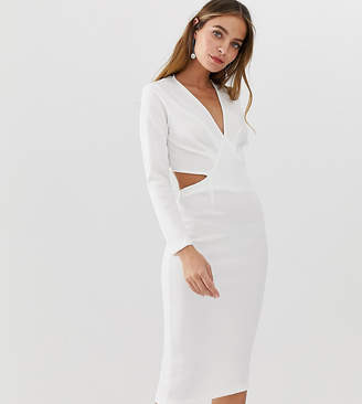 Asos DESIGN Petite bodycon midi dress with cut out back