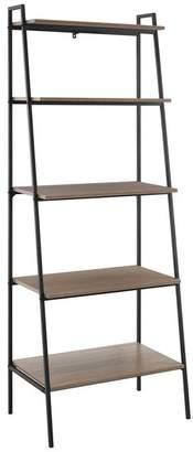 Walker Edison 72 Urban Industrial Metal and Wood Ladder Shelf