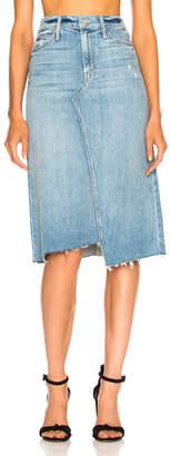 Mother Straight A Step Midi Fray Skirt