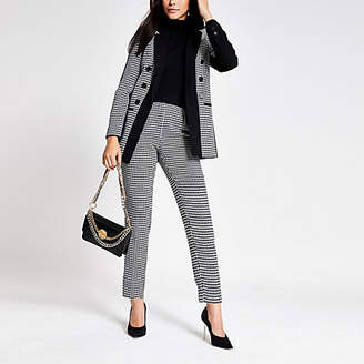 River Island Black dogtooth pleated tapered peg trousers