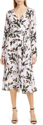 Diane von Furstenberg Elle Floral Long Sleeve Silk Wrap Dress