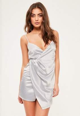 Missguided Petite Grey Satin Wrap Mini Dress