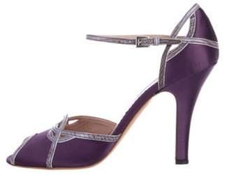 Prada Satin Peep-Toe Pumps Purple Satin Peep-Toe Pumps
