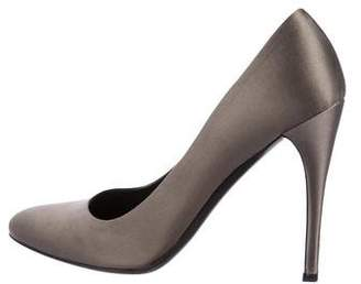 Prada Satin Round-Toe Pumps