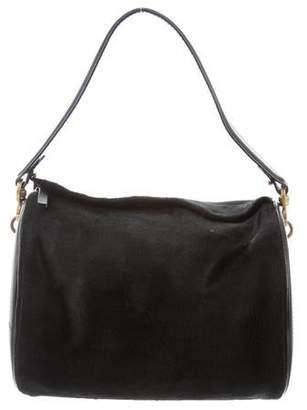 Oscar de la Renta Leather & Calf Hair Top Handle Bag