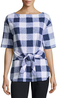 Liz Claiborne Short Sleeve Tie Front Gingham T-Shirt-Womens