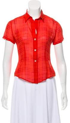 Burberry Silk Short Sleeve Button-Up Top